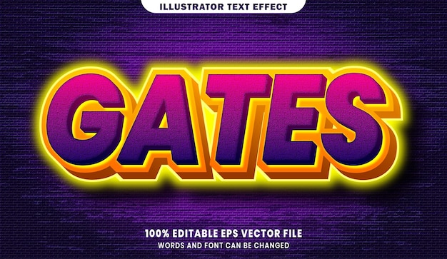 Gates 3d effetto di stile di testo modificabile