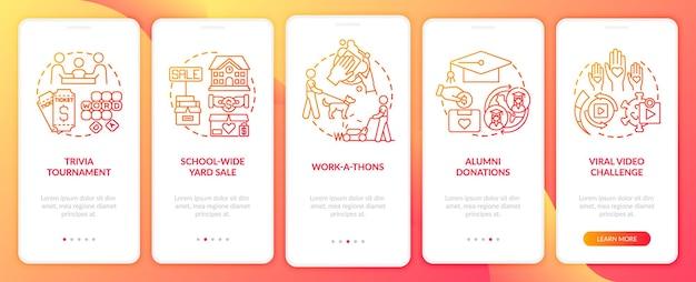 Raccolta di eventi di denaro nella schermata della pagina dell'app mobile