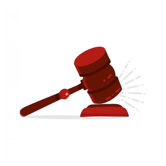 Giudice martelletto isolato. concetto di legge hummer in legno. calcio di martelletto sull'illustrazione piana di vettore di stile del fumetto del supporto.