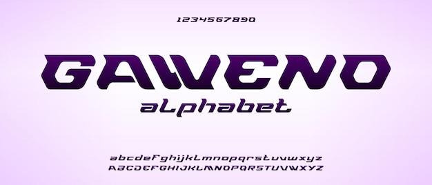 Gaweno, carattere alfabeto sportivo moderno con modello in stile urbano