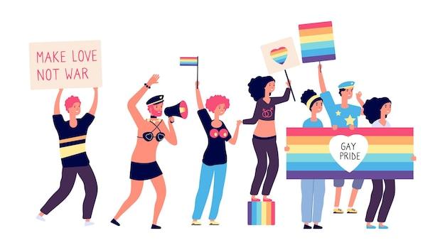 Parata gay. felice donna transgender, ragazzi e coppie con bandiere arcobaleno.