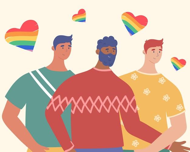 Poster gay. amore per gli uomini. in stile cartone animato.