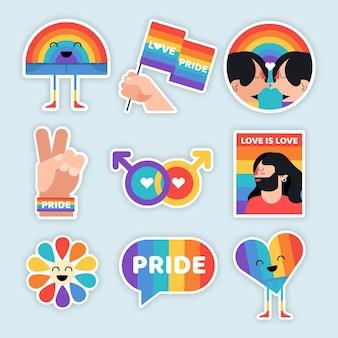 Collezione di etichette del giorno dell'orgoglio gay