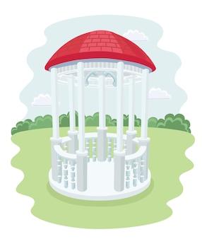 Icona di gazebo nell'illustrazione nera delle azione di simbolo del parco di stile