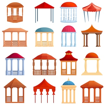 Set di gazebo, stile cartoon Vettore Premium