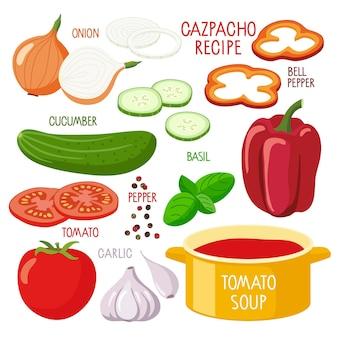 Ricetta del gazpacho pentola grande prodotti per zuppa di pomodoro concetto di poster del corso culinario