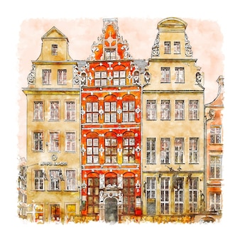 Illustrazione disegnata a mano di schizzo ad acquerello di danzica polonia