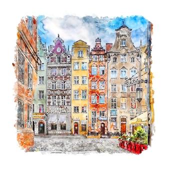 Illustrazione disegnata a mano di schizzo dell'acquerello di danzica polonia