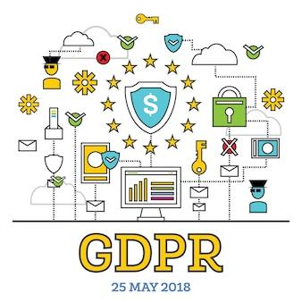 Concetto di gdpr. illustrazione di vettore. regolamento generale sulla protezione dei dati. la protezione dei dati personali.