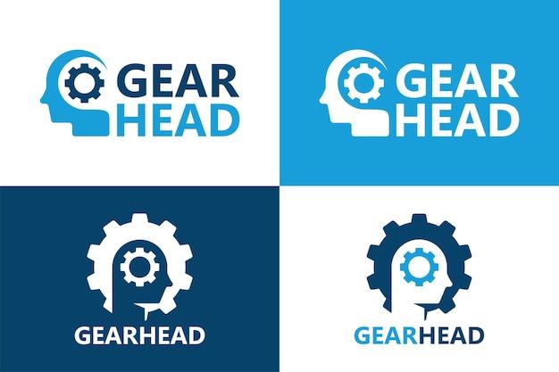 Vettore premium del modello di logo della testa del cervello dell'ingranaggio