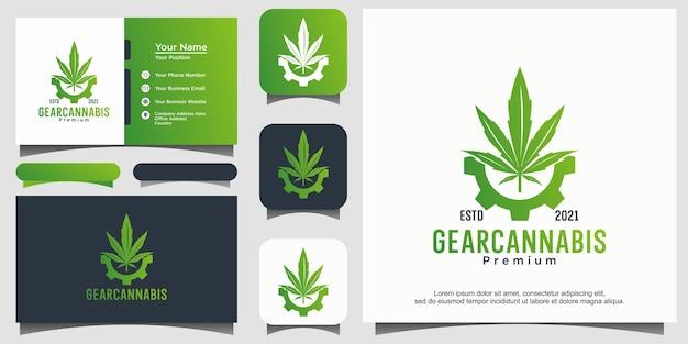 Vettore di design del logo gear e cannabis