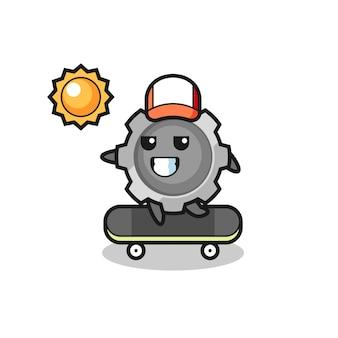 L'illustrazione del personaggio gear cavalca uno skateboard, design in stile carino per t-shirt, adesivo, elemento logo