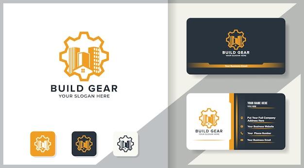 Logo della costruzione di ingranaggi e design del biglietto da visita