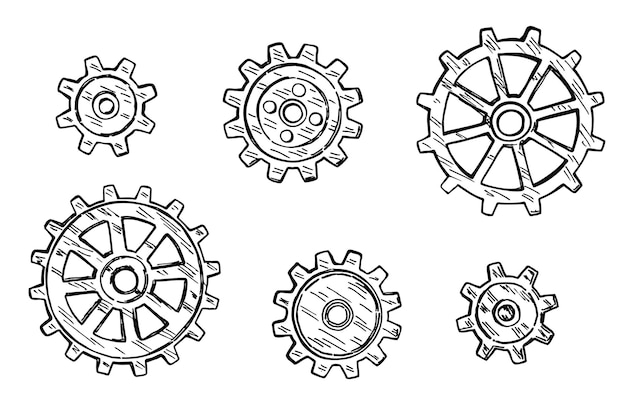 Icona dell'ingranaggio. tecnologia disegnata con inchiostro nero su sfondo bianco. ruote dentate di schizzo vettoriale. disegnato a inchiostro su sfondo bianco