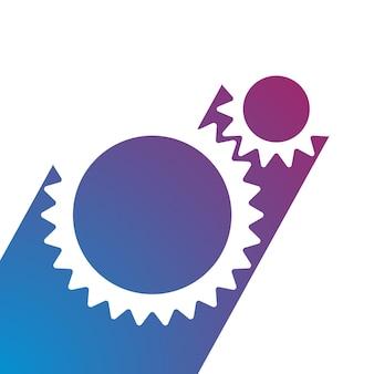 Icona dell'ingranaggio illustrazione vettoriale logo della tecnologia dell'automobile della ruota dentata in stile piatto