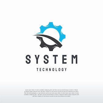 Disegni del logo dell'ingranaggio modello vettoriale, simbolo del logo del meccanico, modello dell'icona del simbolo del logo