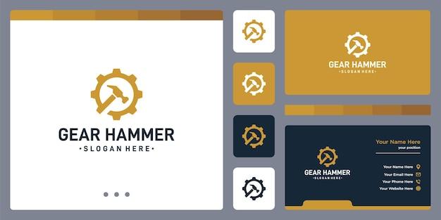 Logo dell'ingranaggio e logo del martello. disegno del biglietto da visita.