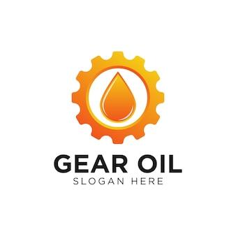 Modello di progettazione di logo sfumato di ingranaggio e olio