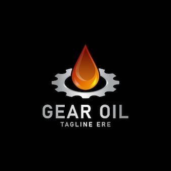 Modello di progettazione del logo dell'ingranaggio e dell'olio