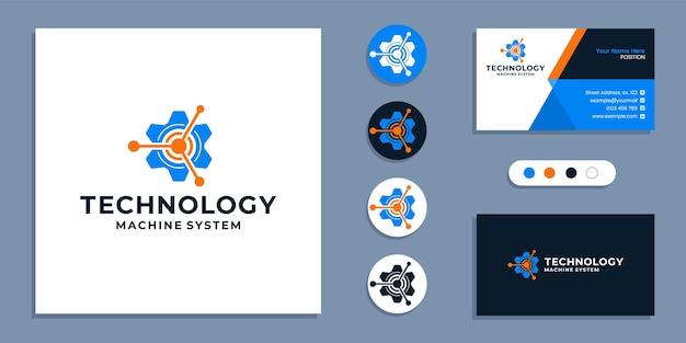 Ingranaggio, logo del sistema della macchina tecnologica e modello di progettazione del biglietto da visita
