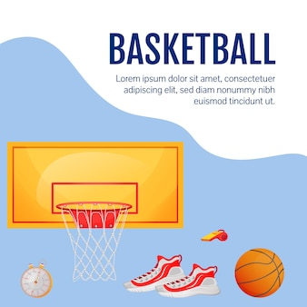 Attrezzatura per la formazione sui post sui social media. articoli da basket. modello struttura banner web. equipaggiamento sportivo