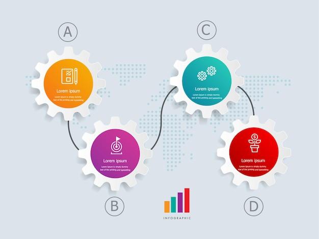 Modello di elemento di presentazione infografica orizzontale ruota dentata con icone di affari