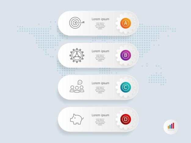 Modello di elemento di presentazione infografica verticale scheda ruota dentata con icona di affari 4 passaggi