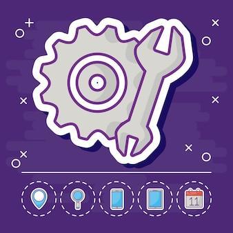 Ruota dentata e chiave inglese con icone relative al marketing online