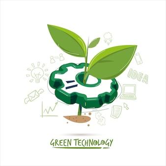 Ingranaggio con piccola pianta - concetto di tecnologia ecologica
