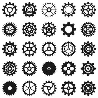 Ingranaggi. ruote dentate di trasmissione e ingranaggi della macchina, meccanismo tecnico, motore di ingegneria, icone a forma di pulsante nero, set vettoriale. meccanismo di trasmissione, illustrazione dell'ingranaggio del macchinario di ingegneria