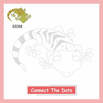 Gecko animals drawing kids connect the dots lizard
