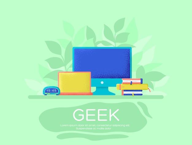 Geek flyer, riviste, poster, copertine di libri, banner. consistenza del grano ed effetto rumore.