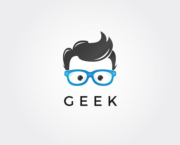 Modello di logo geek, concetto di design del logo creative geek