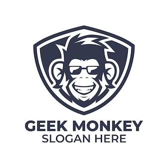 Modello di logo di scimmia geek