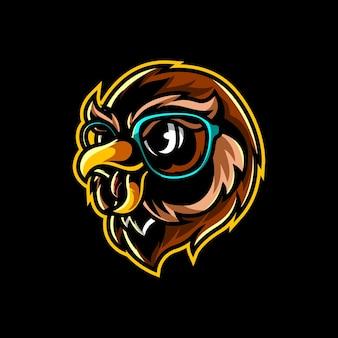 Logo della mascotte della testa del gufo geek