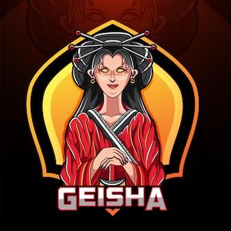 Logo della mascotte di geisha esport