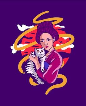 Geisha girl con gatto