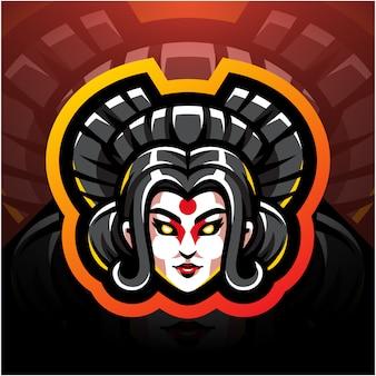 Testa di geisha esport mascotte logo design