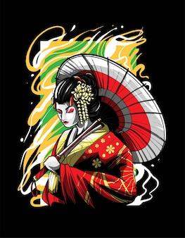 Illustrazione di vettore della testa di geisha. adatto per t-shirt, stampe e abbigliamento