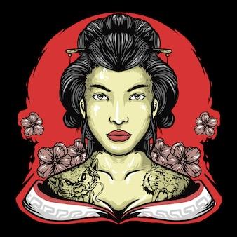 Testa di geisha con fiori mascotte logo design