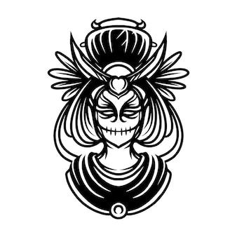Illustrazione di arte linea geisha