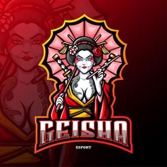 Logo di sport della mascotte della geisha