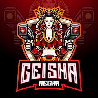 Geisha mecha esport logo mascotte design