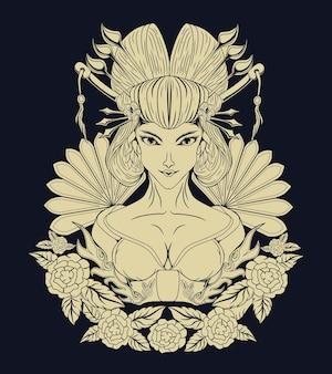 Geisha vintage tatuaggio monocromatico concetto vettoriale