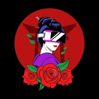 Geisha con illustrazione di occhiali da gioco virtuale