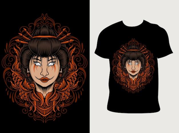 Illustrazione di donna geisha con design t-shirt