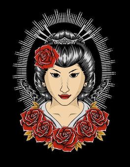 Illustrazione della donna geisha
