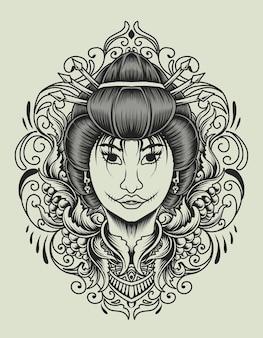 Donna geisha con ornamento incisione