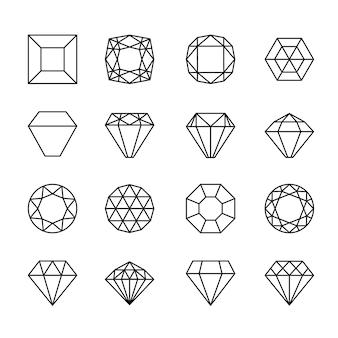 Icone della linea di gemme. segni di cristallo di diamante, pietre preziose vettoriali o simboli di lusso gioiello isolati su sfondo bianco