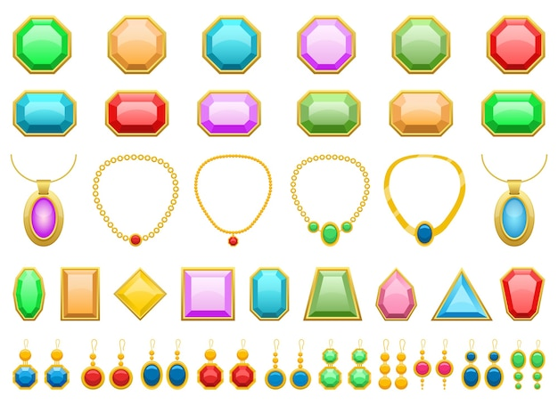 Pietre preziose, orecchini e gioielli illustrazione isolati su sfondo bianco
